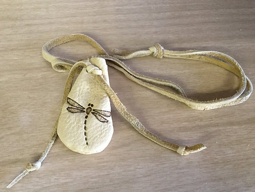 Small Hand Sewn Pouch with Dragonfly Design, Deer Hide Bag, Ready to Ship
