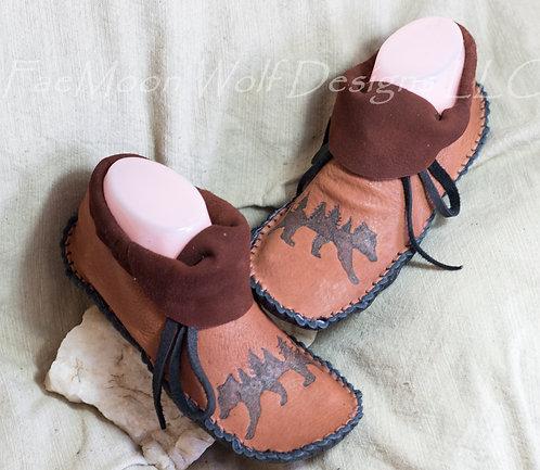 Hand Sewn Moccasins Bear Design, Custom Made to Order