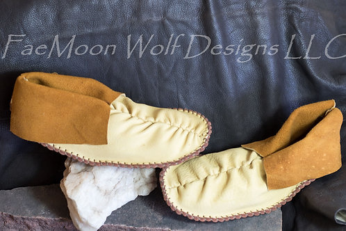 Handmade Moccasins, Center Seam Short Mocs, Men's Size 8, Ready to Ship