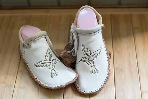 Custom Hand Sewn Moccasins with Hummingbird Design
