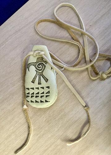 Thunderbird design elk hide pouch, Handmade, Hand Sewn, Ready to Ship
