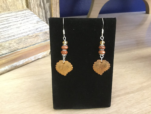 Handmade Earrings, Ready to Ship, Sunstone and Leaf