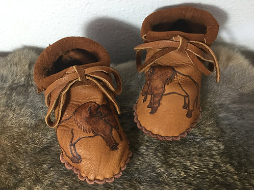 Hand Sewn Fringe Moccasins with Buffalo Design, Toddler Size 8, Ready to Ship