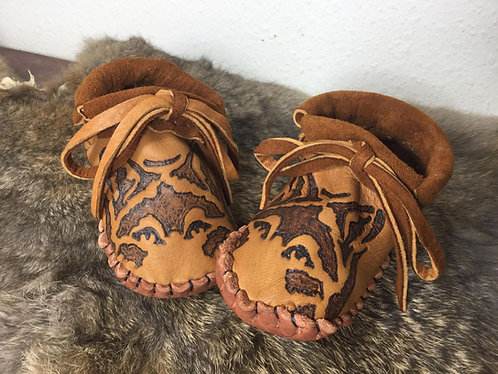 Handmade Baby Moccasins with Wolf Face Design on Toe, Size 6-12 Month