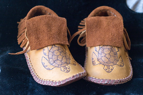 Custom Made to Order Moccasins with Hand Burned Turtle Design