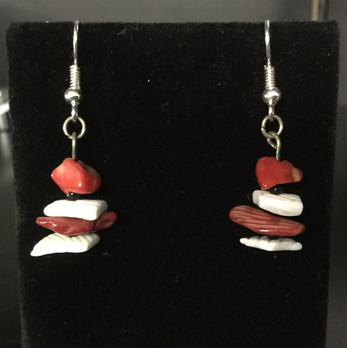Red Coral, Shell and Seed Bead Earrings, Handmade Ready to Ship
