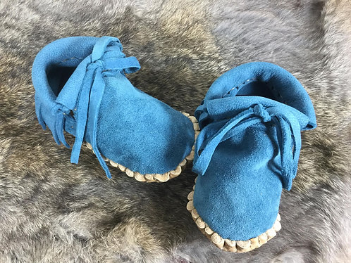 Handmade Baby Moccasins, Size 12 Month, Turquoise Deer Suede Moccs