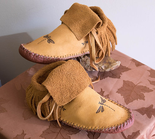 Custom Made to Order Hand Sewn Fringe Moccasins with Dragonfly Design
