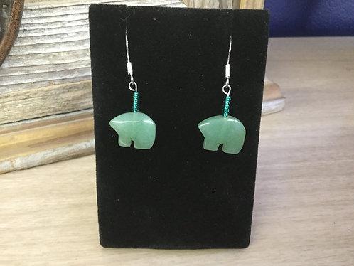 Handmade Green Jade Bear Earrings, Ready to Ship