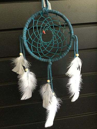 Handmade Turquoise Color Dreamcatcher with White Feathers, Ready to Ship