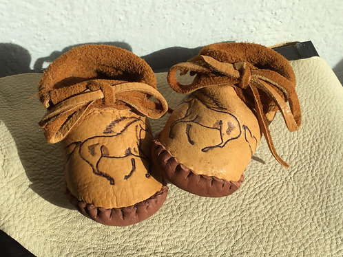 Hand Sewn Baby Moccasins with Horse Design on Toe, Size 12 Months, Ready to Ship