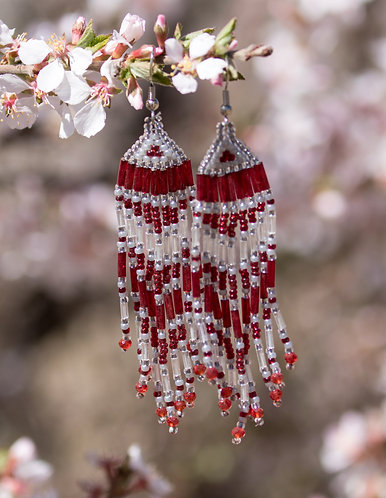 Red and Silver Beaded Earrings, Ready to Ship