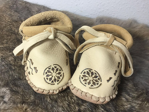 Hand Sewn Baby Moccasins, Size 12 Months, Ready to Ship