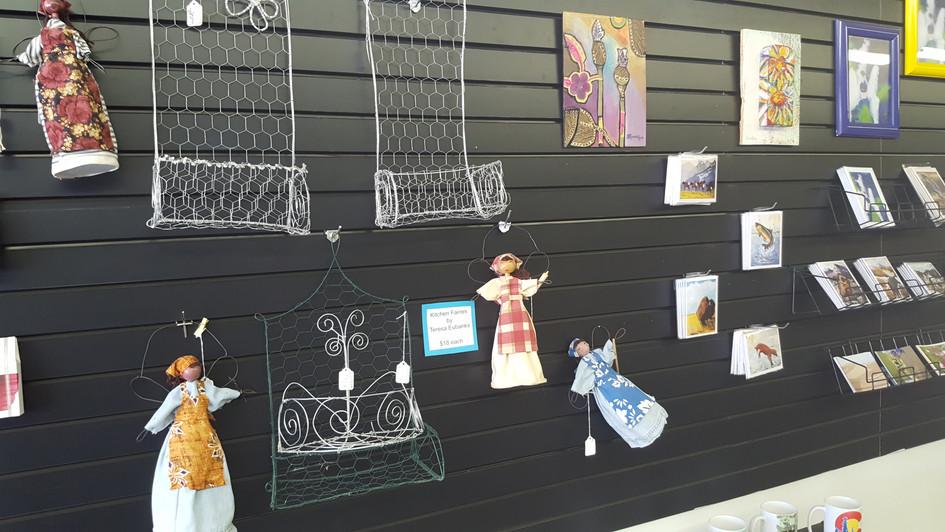 Handmade wire shelfs and Kitchen Faries by Teresa Eubanks.