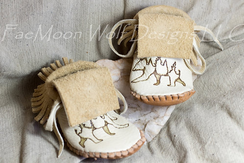 Hand Sewn Children's Moccasins, Custom Made to Order, Bear Design