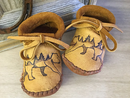 Hand sewn toddler moccasins, Size toddler 8, Ready to Ship