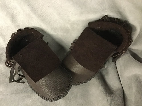 Short Fringe Moccasins, Handmade Size Women's 6, Ready to Ship