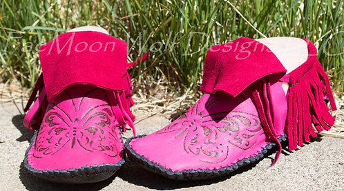 Hand Sewn to Order Pink Fringe Moccasins with Hand Burned Butterfly on Toes