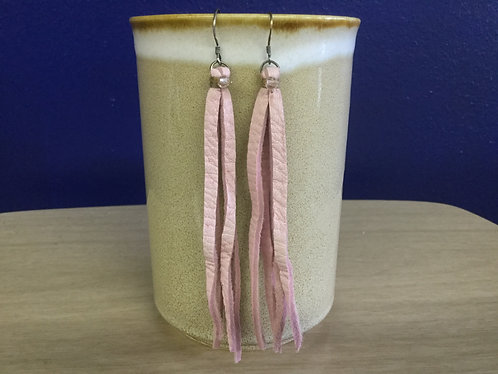 Pink Fringe Leather Earrings, Handmade, Ready to Ship