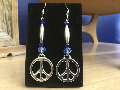 Handmade Earrings, Peace Symbol, Swarovski Crystal, Ready to Ship