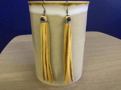 Leather Fringe Earrings Handmade, Ready to Ship