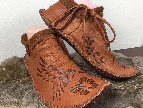 Custom Handmade Short Moccasins with Hummingbird Design, Hand Sewn to Order