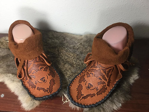 Custom Hand Sewn to Order Short Moccasins with Wolf Design