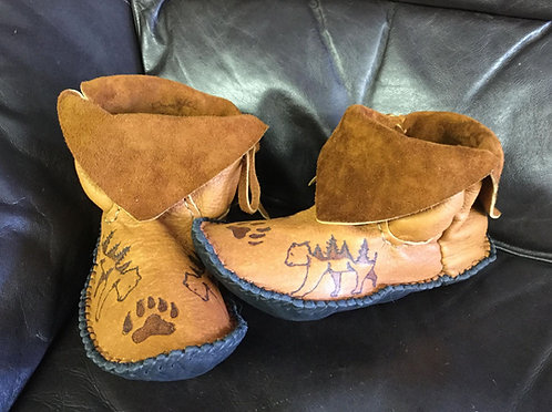 Hand Sewn Ankle Boots with Bear Design, Ready to Ship, Men's Size 10