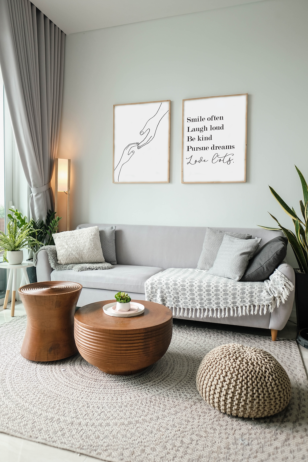 wall prints in cosy living room