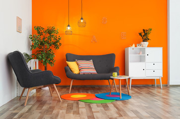 bright feature wall