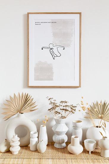 Ballerina crouching minimalist scripture print