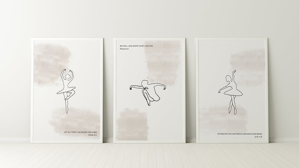 Three posters ballerina poses with bible verses