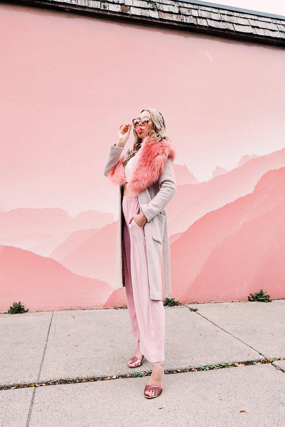 pink mountain background, girl sucking lollipop