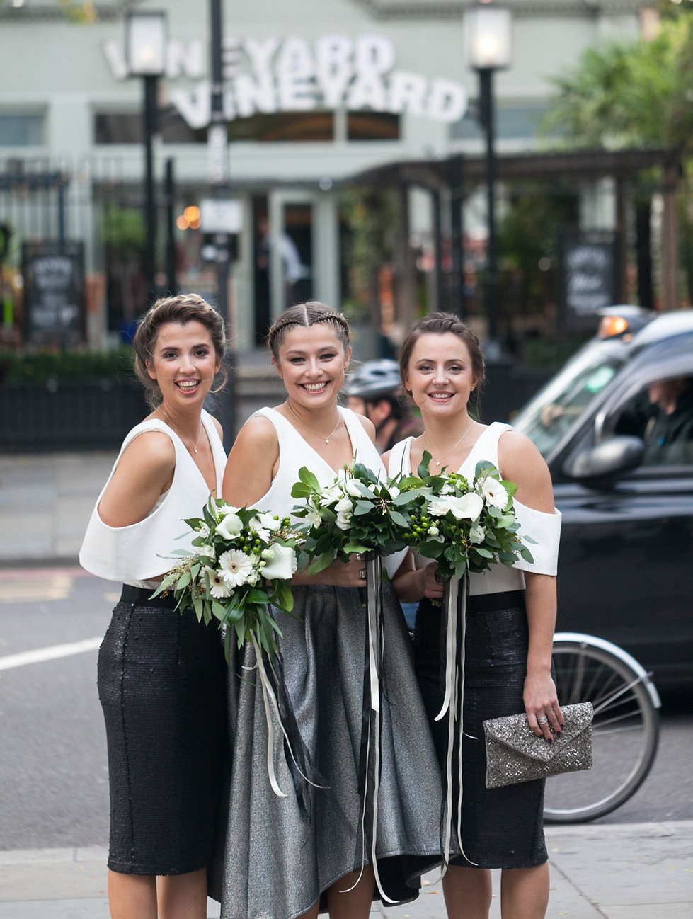 Alternative bridesmaids at Islington Town Hall for a wedding
