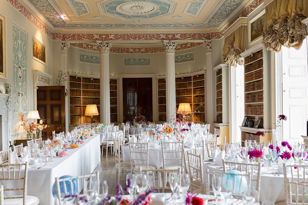Newby Hall & Garden Wedding Photography, Library Room, Wedding reception