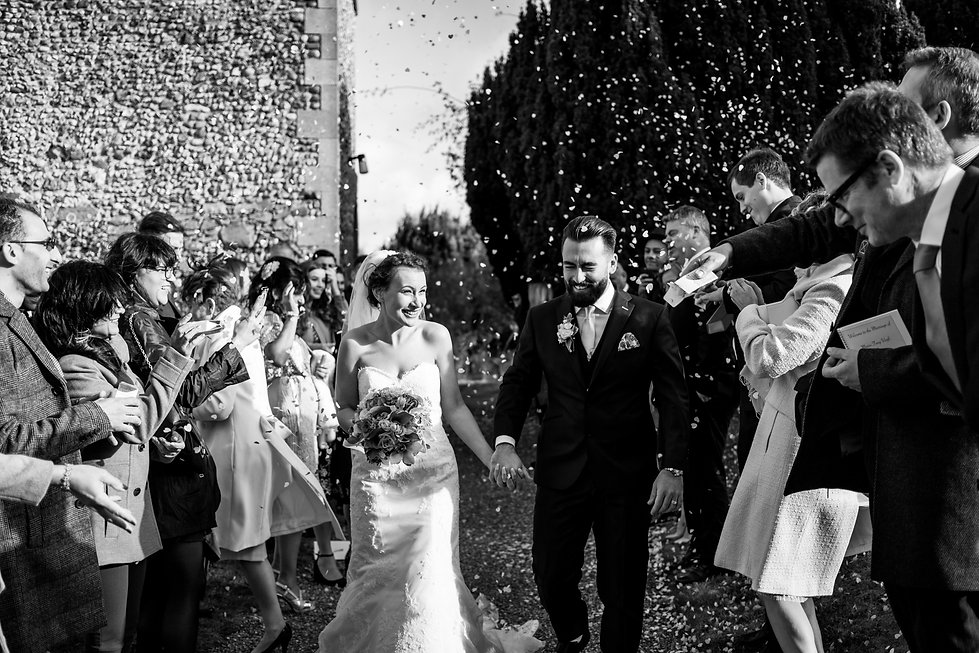 Saint Mary The Virgin Church Wedding, Ipswich, Suffolk, confetti moment captured by Grace Pham Photography 01