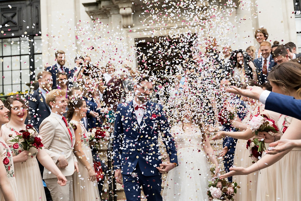 Islington Town Hall Wedding confetti captured by London Wedding Photographer May 2018 01