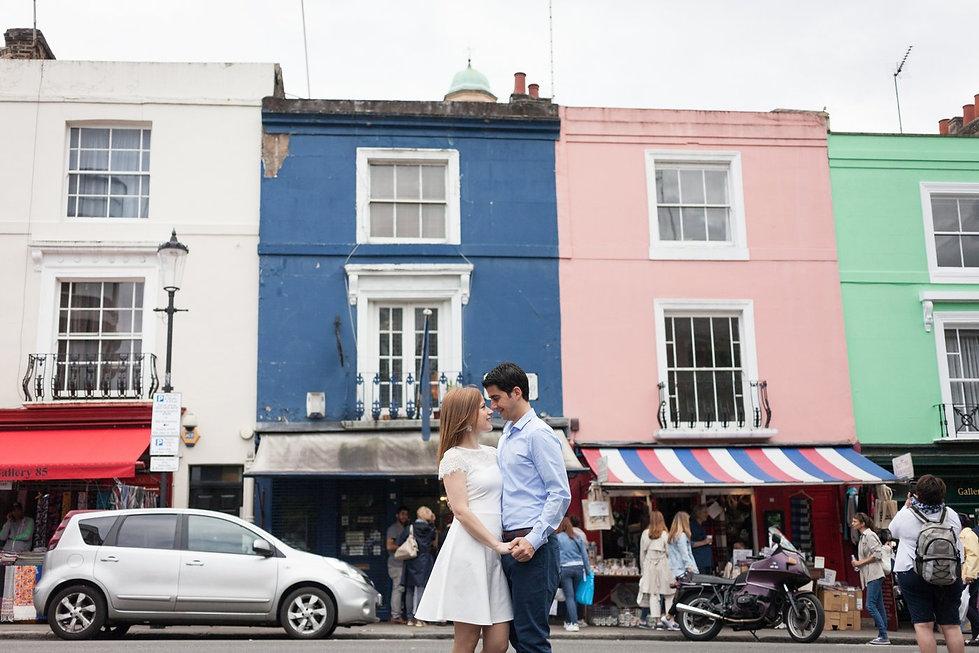 Notting Hill, Portobello Road Market, London Engagement Photoshoot 01