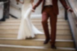 David's Bridal Wedding Dress and Vivienne Westwood rust colour suit