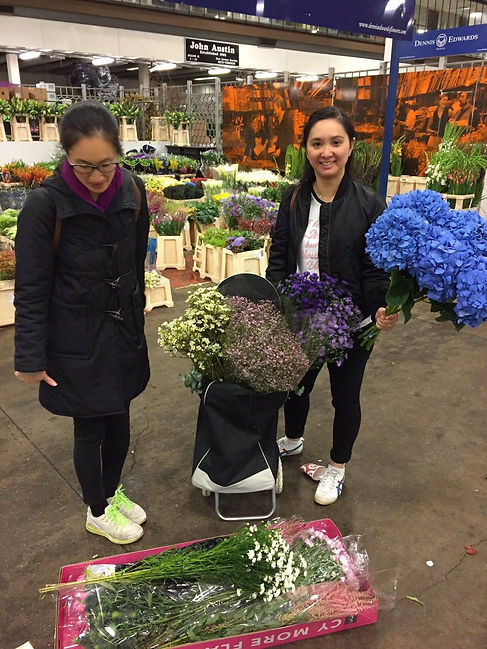Shopping at the New convent garden flowers market, wedding prep