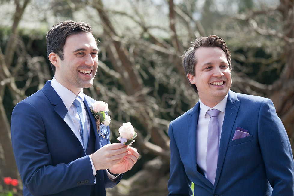 Groom and bestman, Great Fosters Wedding, Surrey Wedding Photographer