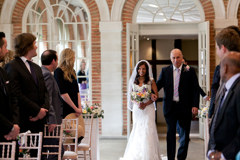 Great Fosters Wedding, The Orangery & Conservatory at Great Fosters, Bride walking down the aisle