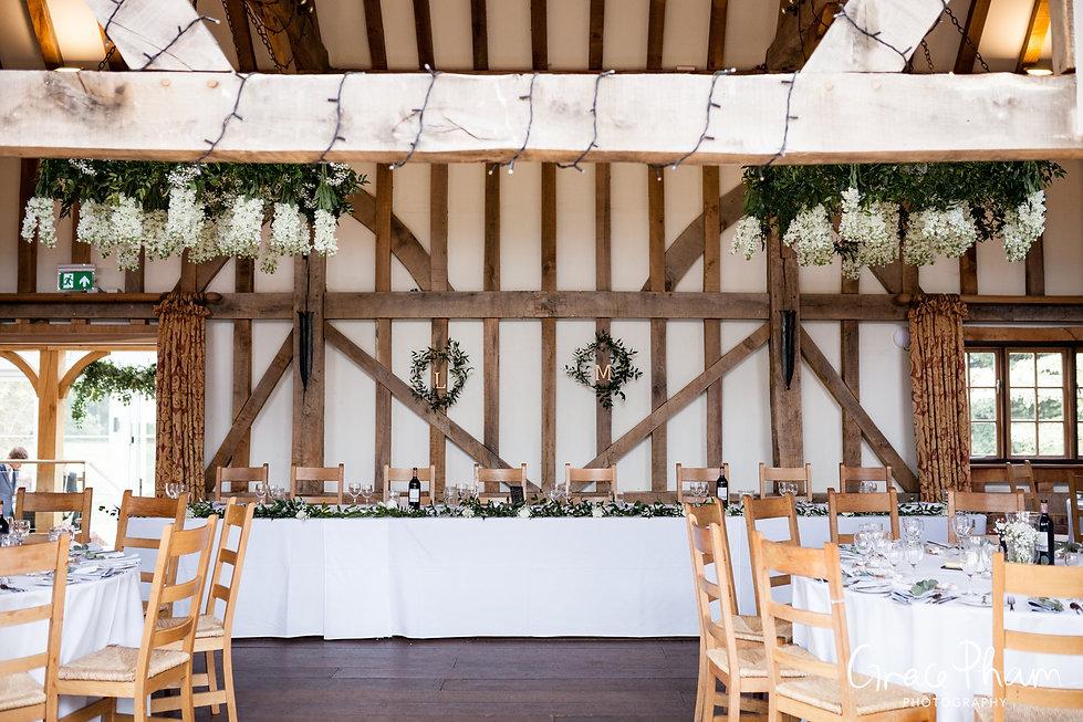 Gate Street Barn Wedding, Reception room, captured by Grace Pham Photography 03