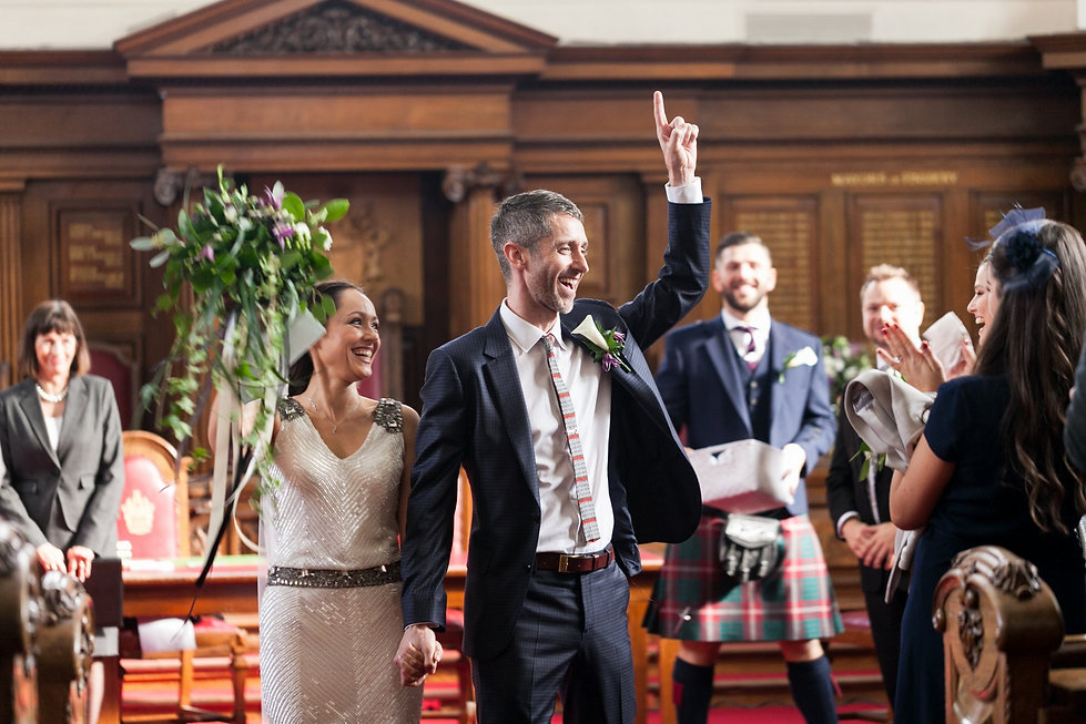 Just married in Angel, Islington Town Hall