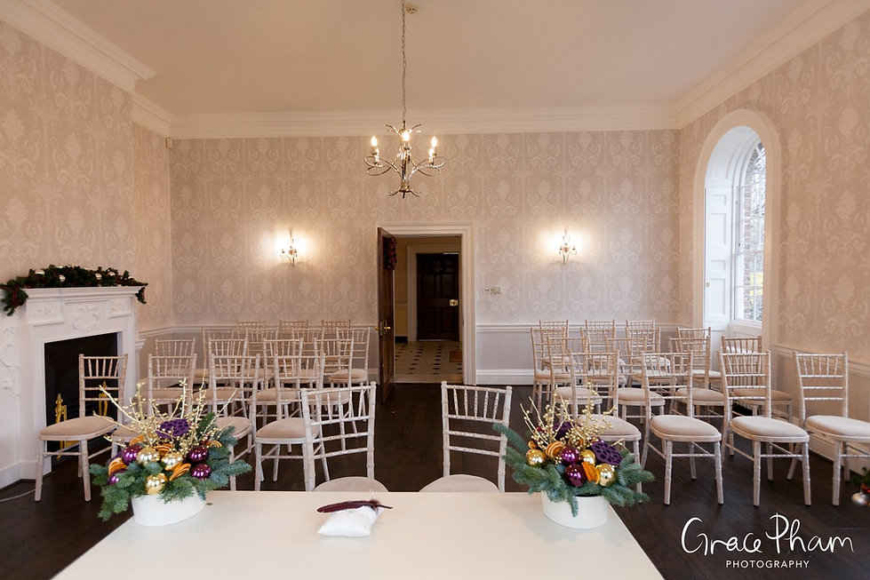 The new redecorated Sheridan Marriage Room at Merton Register office, Morden Park House. Image by London Wedding Photographer.
