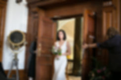 Town Hall Hotel Wedding captured by Mike Redman. Bride walking down the aisle in the De Montfort Suite room.