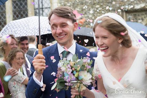 Hampden House Wedding confetti moment by UK Photographer 02