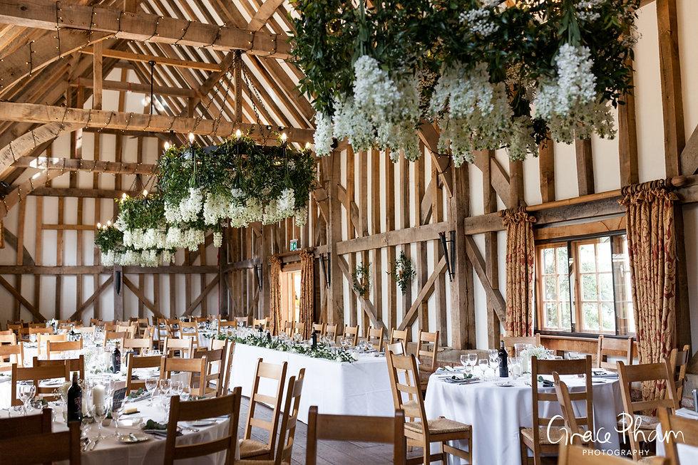 Gate Street Barn Wedding, Reception room, captured by Grace Pham Photography