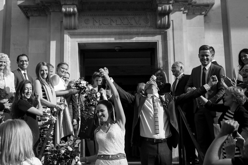 Confetti moment at the Islington Town Hall captured by Reportage London Wedding Photographer