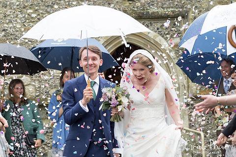 Hampden House Wedding confetti moment by UK Photographer 01